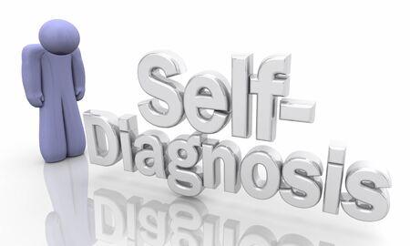 Self-Diagnosis Sick Illness Person Symptoms 3d Illustration Stockfoto