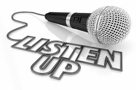 Słuchaj mikrofonu publiczność zwracaj uwagę ilustracja 3d