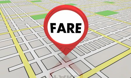 Fare Taxi Cab Ride Hail Customer Map Pin 3d Illustration