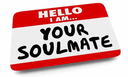 Your Soulmate Nametag Sticker Love Romance Dating 3d Illustration