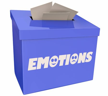 Emotions Suggestion Box Share Feedback Feelings 3d Illustration Stockfoto