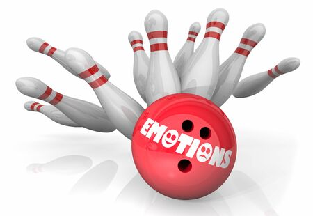 Emotions Bowling Stike Pins Emotional Reaction 3d Illustration