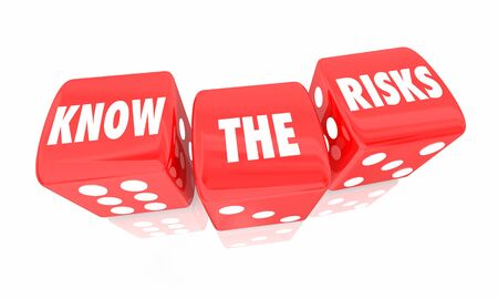 Know the Risks Roll Dice Danger Warning 3d Illustration