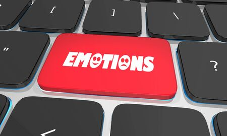 Emotions Feelings Computer Key Button Share Online 3d Illustration