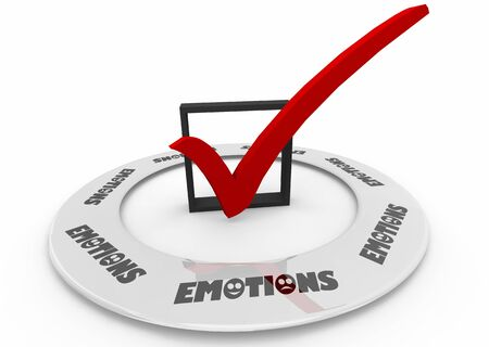 Emotions Check Box Feelings Word 3d Illustration Stockfoto