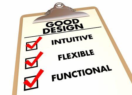 Gutes Design Intuitive flexible funktionale Checkliste Zwischenablage 3D-Darstellung