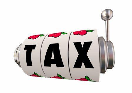Tax Refund Return Payment Gamble Slot Machine Wheels 3d Illustration