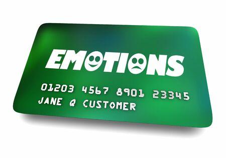 Emozioni Sentimenti Mentale Emotivo Carta di credito Shopping Terapia Illustrazione 3d