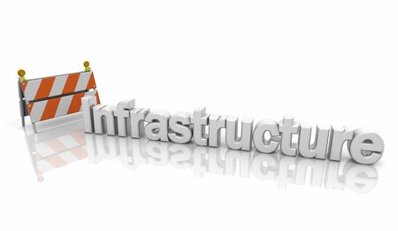 Infrastructure Improvement Project Road Work Barricade Sign 3d Illustration Фото со стока