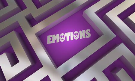 Emotions Find Search Maze Word Feelings 3d Illustration