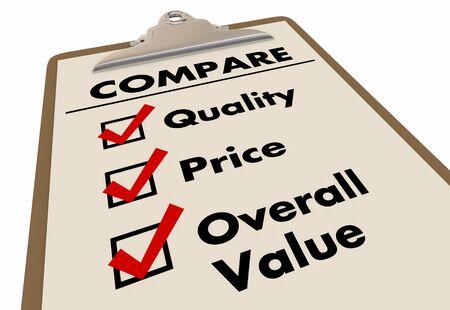 Vergleichen Sie Qualität Preis Gesamtwert Zwischenablage Checkliste 3D-Illustration Standard-Bild