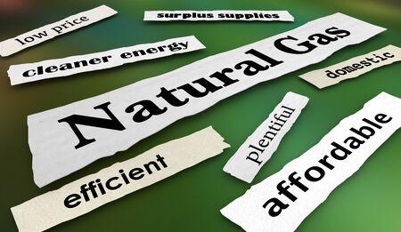 Natural Gas Energy Power Fuel News Headlines 3d Illustration