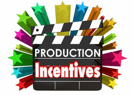 Production Incentives Movie Film Subsidies Clapper Board 3d Illustration
