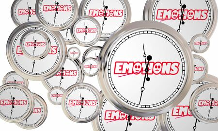 Emotions Feelings Mental Emotional States Clocks Time Passing 3d Illustration