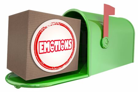 Emotions Mailbox Package Order Delivery 3d Illustration Stockfoto - 128722104