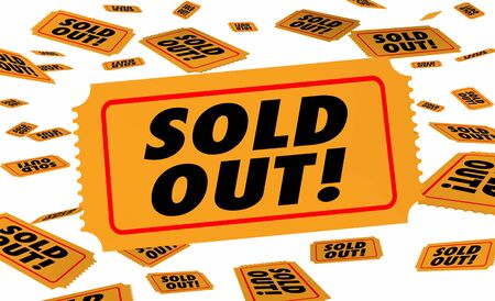 Sold Out Tickets Popular Event Show Concert Pass 3d Illustration