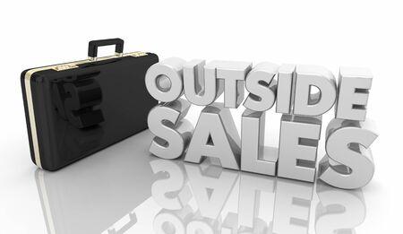 Outside Sales Briefcase Selling Career Job 3d Illustration