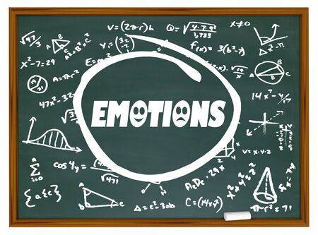 Emotions Chalkboard Learning Formula Science Brain 3d Illustration Stockfoto