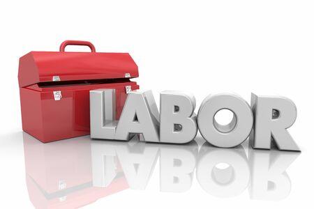 Labor Skilled Toolbox Words Workforce 3d Illustration