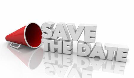 Save the Date Bullhorn Megaphone Reminder 3d Illustration