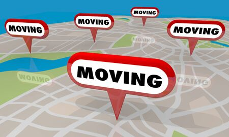 Moving Relocation Real Estate Home Buyer Map Pins Words 3d Illustration