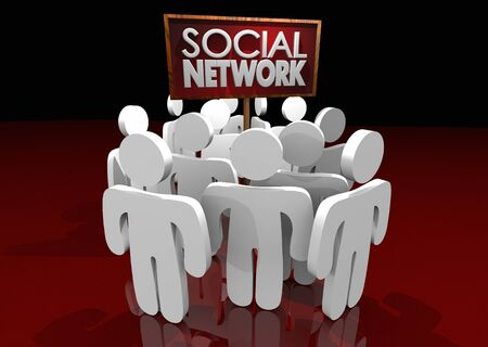 Social Network Media Connections People Groups 3d Illustration