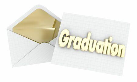 Graduation Party Event Invitation Envelope Opening 3d Illustration