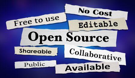 Open Source Software Newspaper Headlines 3d Illustration 스톡 콘텐츠
