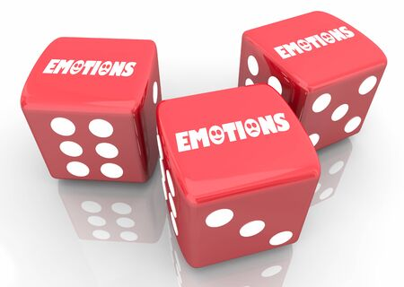 Emotions Feelings Mental Emotional States Gamble Roll Dice Take Chance 3d Illustration Stockfoto - 128722193