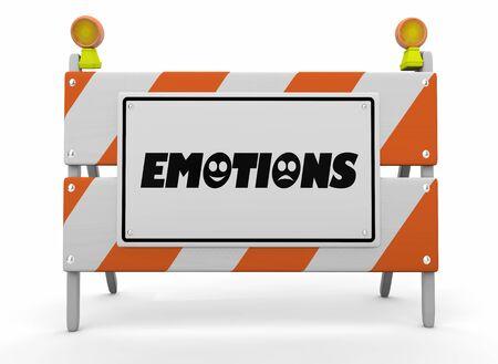 Emotions Feelings Emotional States Construction Sign Barricade 3d Illustration Фото со стока