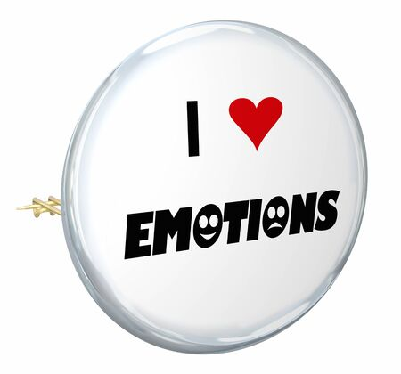 I Love Emotions Sharing Feelings Button Pin Words 3d Illustration