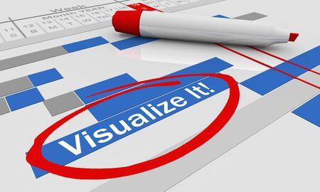 Visualize It Imagine Gantt Chart Imagination 3d Illustration Stock fotó - 128722225