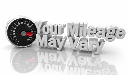 Your Mileage May Vary Speedometer Different Experience 3d Illustration