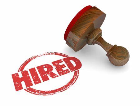 Hired Stamp New Job Employment 3d Illustration