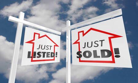 Just Listed Sold Real Estate Home for Sale Sign 3d Illustration