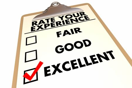 Rate Your Experience Checklist Grade Survey 3d Illustration