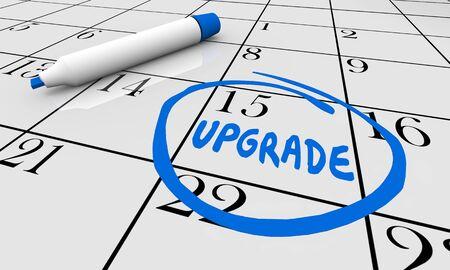 Upgrade Update Improve Calendar Day Date Circled 3d Illustration Stock Photo