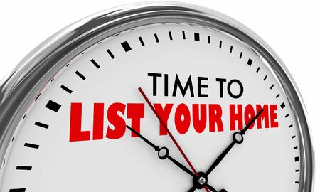 Time to List Your Home Clock Sell House for Sale 3d Illustration