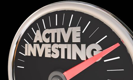 Active Investing Speedometer Buy Sell Stock Market 3d Illustration Imagens