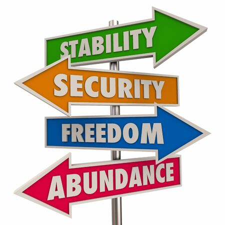 Financial Stability Security Freedom Abundance Levels Stages Signs 3d Illustration Imagens