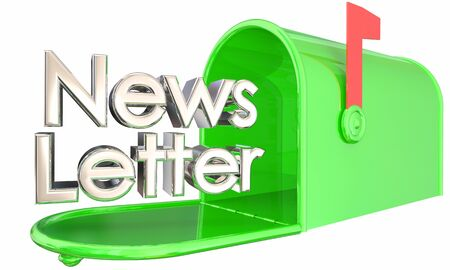 Newsletter Delivery Mailbox Update Information 3d Illustration 写真素材