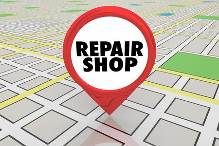 Repair Shop Mechanic Service Fix Your Vehicle Map Pin 3d Illustration