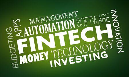 Fintech FInancial Technology Software Services 3d Illustration Foto de archivo - 129655175