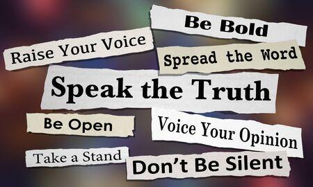 Sprechen Sie die Wahrheit Teilen Sie Ihre Meinung Verbreiten Sie Ihre Stimme Schlagzeilen 3D-Illustration Standard-Bild