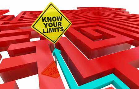 Know Your Limits Maze Limitations Sign 3d Illustration 스톡 콘텐츠 - 129655179