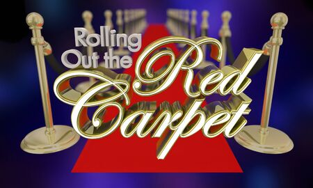 Rolling Out the Red Carpet VIP Treatment 3d Illustration Stockfoto