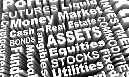Assets Stocks Bonds Equities Word Collage 3d Illustration