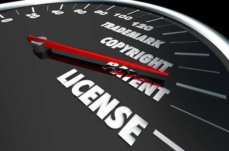 Marque déposée Copyright Licence de brevet Propriété intellectuelle Illustration 3d