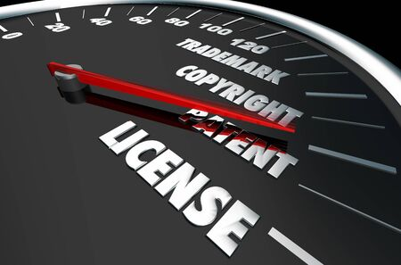Trademark Copyright Patent License Intellectual Property 3d Illustration Stock Illustration - 129655187