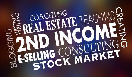 2nd Second Income Side Hustle Make More Money 3d Illustration